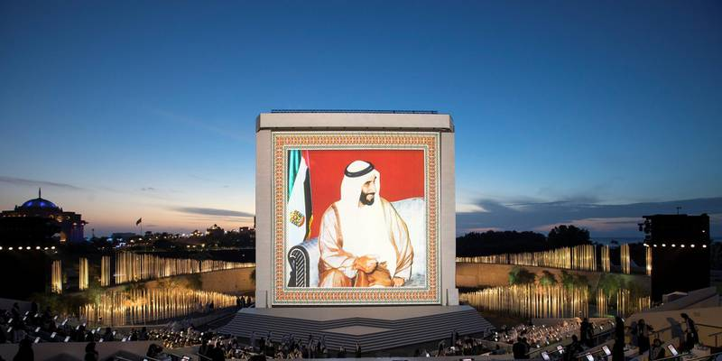 ABU DHABI, UNITED ARAB EMIRATES - February 26, 2018: A photograph of HH Sheikh Zayed bin Sultan bin Zayed Al Nahyan, President of the United Arab Emirates, is displayed during the inauguration of The Founder's Memorial.   ( Ryan Carter for the Crown Prince Court - Abu Dhabi ) ---