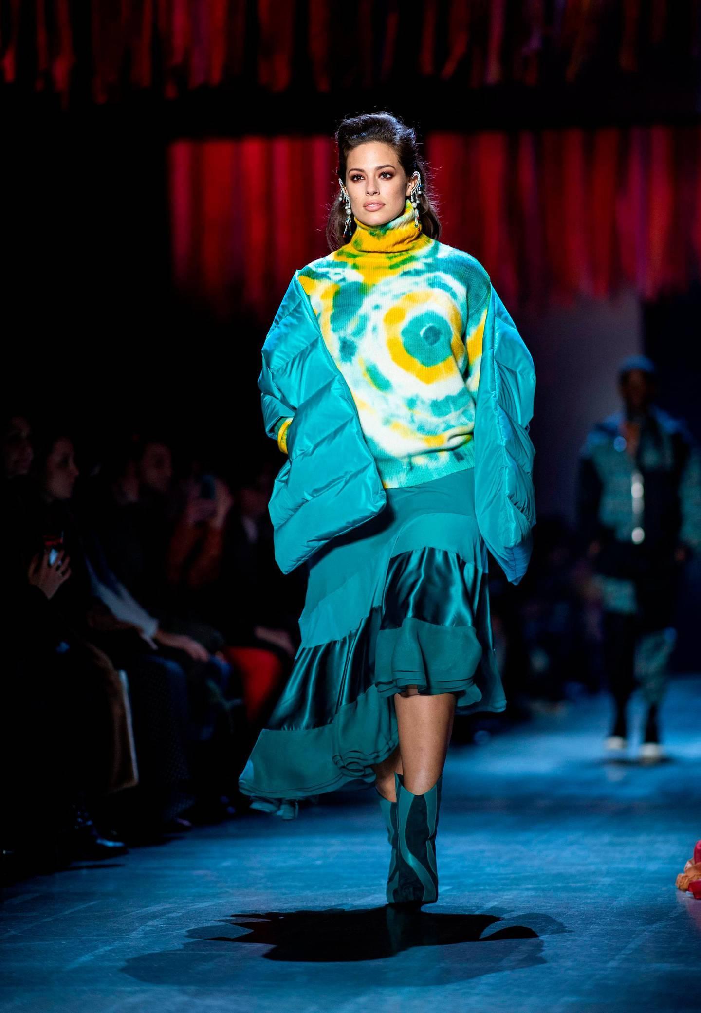 Model Ashley Graham walks the runway of Prabal Gurung fashion show during New York Fashion Week on February 10, 2019 in New York City.  / AFP / Johannes EISELE