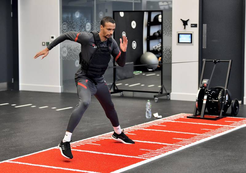 KIRKBY, ENGLAND - NOVEMBER 19: (THE SUN OUT, THE SUN ON SUNDAY OUT) Joel Matip of Liverpool during a gym training session at AXA Training Centre on November 19, 2020 in Kirkby, England. (Photo by Andrew Powell/Liverpool FC via Getty Images)