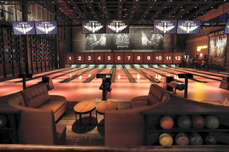 DUBAI, UNITED ARAB EMIRATES , September 27 – 2020 :- View of the 12 bowling lanes at the Brass Monkey, new dining and entertainment destination on the Bluewaters Island in Dubai.  (Pawan Singh / The National) For Lifestyle/Online/Instagram. Story by Janice Rodrigues