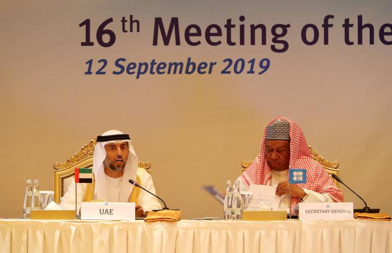 ABU DHABI ,  UNITED ARAB EMIRATES , SEPTEMBER 12 – 2019 :- Left to Right – Suhail Mohammed Al Mazroui , Minister of Energy, UAE and Mohammad Barkindo , Secretary General , OPEC during the Opec Joint Ministerial Monitoring Committee Meeting held at the Emirates Palace in Abu Dhabi. ( Pawan Singh / The National ) For Business. Story by Jennifer