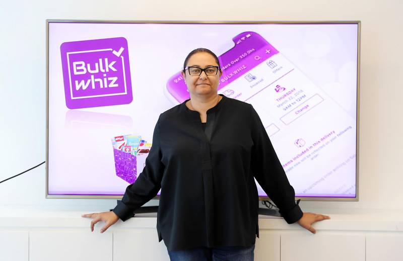 DUBAI, UNITED ARAB EMIRATES , Feb 4  – 2020 :- Amira Rashad, co-founder and CEO of Bulkwhiz at her office in Al Reef Tower in JLT in Dubai. ( Pawan  Singh / The National ) For Business. Story by Nada