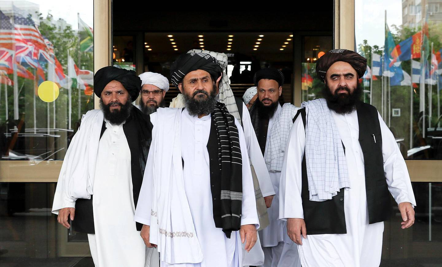 FILE PHOTO: Members of a Taliban delegation leaving after peace talks with Afghan senior politicians in Moscow, Russia May 30, 2019. REUTERS/Evgenia Novozhenina/File Photo