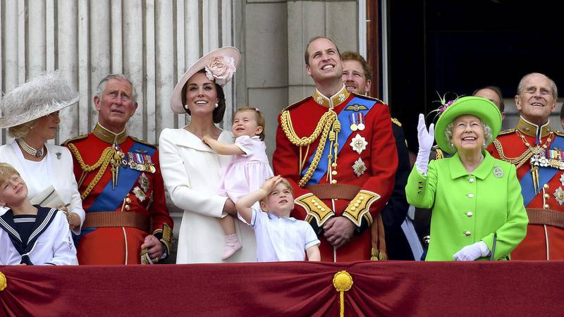 LONDON, ENGLAND - JUNE 11:  (L-R) Camilla, Duchess of Cornwall, Prince Charles, Prince of Wales, Catherine, Duchess of Cambridge, Princess Charlotte, Prince George, Prince William, Duke of Cambridge, Prince Harry, Queen Elizabeth II and Prince Philip, Duke of Edinburgh stand on the balcony during the Trooping the Colour, this year marking the Queen's 90th birthday at The Mall on June 11, 2016 in London, England. The ceremony is Queen Elizabeth II's annual birthday parade and dates back to the time of Charles II in the 17th Century when the Colours of a regiment were used as a rallying point in battle.  (Photo by Ben A. Pruchnie/Getty Images)
