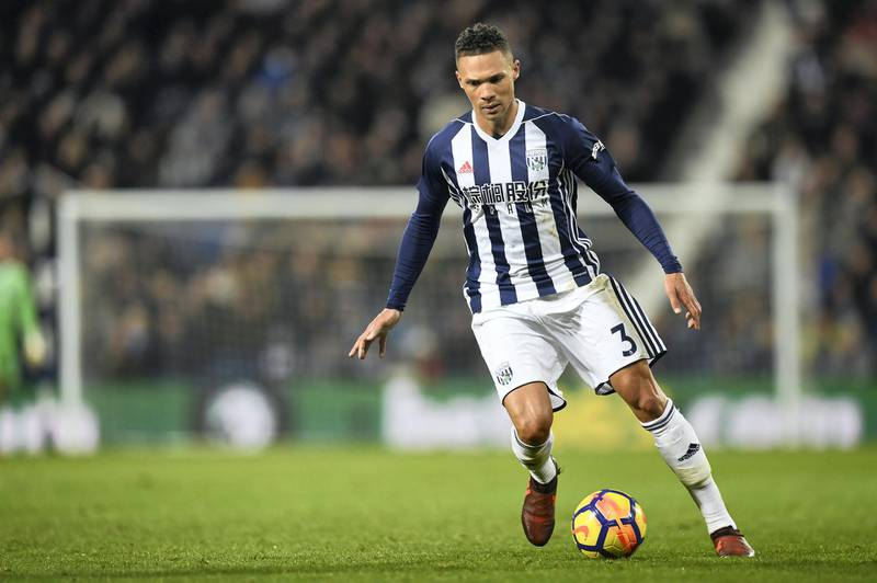 West Bromwich Albion's English defender Kieran Gibbs runs with the ball during the English Premier League football match between West Bromwich Albion and Newcastle United at The Hawthorns stadium in West Bromwich, central England, on November 28, 2017.  / AFP PHOTO / Paul ELLIS / RESTRICTED TO EDITORIAL USE. No use with unauthorized audio, video, data, fixture lists, club/league logos or 'live' services. Online in-match use limited to 75 images, no video emulation. No use in betting, games or single club/league/player publications.  /