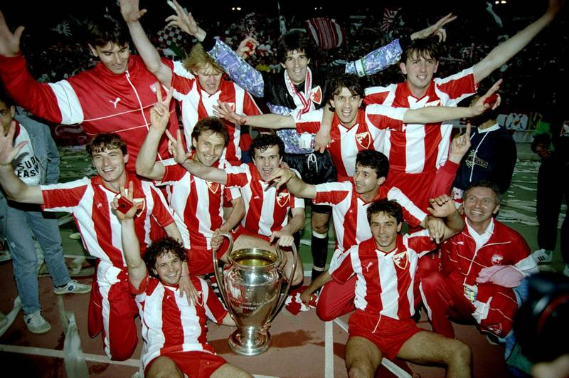 29 May 1991:  Red Star Belgrade celebrate after their victory in the European Cup final against Marseille in Bari, Italy. \ Mandatory Credit: Simon  Bruty/Allsport