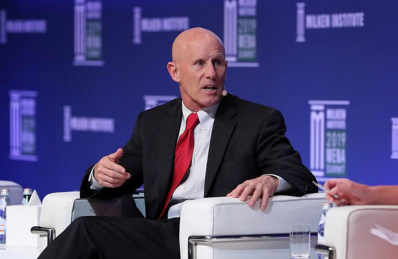 ABU DHABI , UNITED ARAB EMIRATES , February 12 – 2019 :- Robert Harward ,CEO, Middle East, Lockheed Martin speaking during the Investing in Space session at the Milken Institute MENA Summit 2019 held at The St. Regis Saadiyat Island Resort in Abu Dhabi.  ( Pawan Singh / The National ) For News/Business/Instagram. Story by Dania