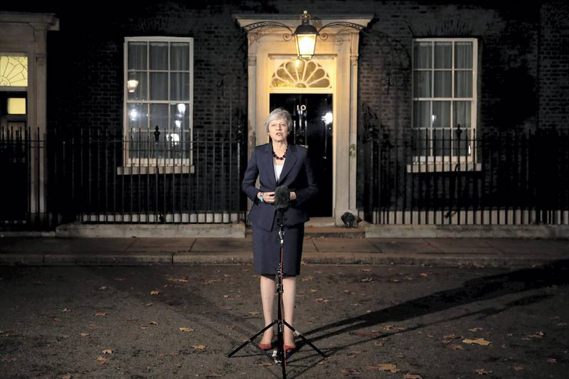 LONDON, ENGLAND - NOVEMBER 14:  British Prime minister, Theresa May delivers a Brexit statement at Downing Street on November 14, 2018 in London, England. Theresa May addresses the nation after her cabinet of senior ministers met and approved the wording of the draft Brexit agreement which will see the UK leave the European Union on March 29th 2019.  (Photo by Dan Kitwood/Getty Images)