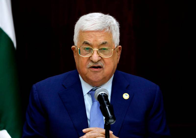 Palestinian president Mahmud Abbas chairs a meeting of the central committee of the Fatah movement in the West Bank city of Ramallah on October 1, 2019. / AFP / ABBAS MOMANI