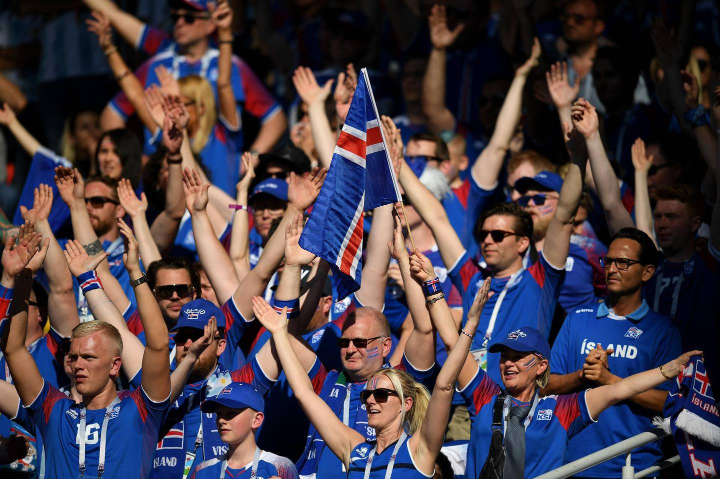 MOSCOW, RUSSIA - JUNE 16:  Iceland fans show their support during the 2018 FIFA World Cup Russia group D match between Argentina and Iceland at Spartak Stadium on June 16, 2018 in Moscow, Russia.  (Photo by Matthias Hangst/Getty Images)