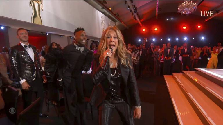 An image that illustrates this article Rita Wilson goes viral with rap in all-star singalong at Emmys