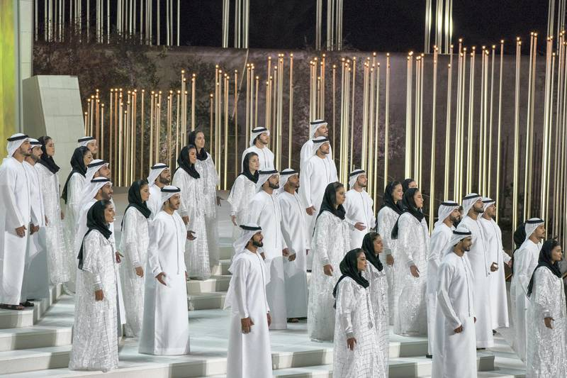 ABU DHABI, UNITED ARAB EMIRATES - February 26, 2018: Performers participate in the opening ceremony of The Founder's Memorial. ( Mohamed Al Hammadi / Crown Prince Court - Abu Dhabi ) ---