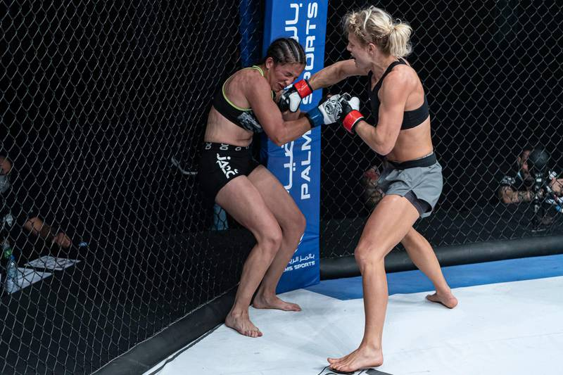 Manon Fiorot punishing Gabriela Campo before the referee stopped the contest in the UAE Warriors-14 women's flyweight world title at the Jiu-Jitsu Arena in Abu Dhabi on Friday, November 27, 2020. Courtesy Palms Sports