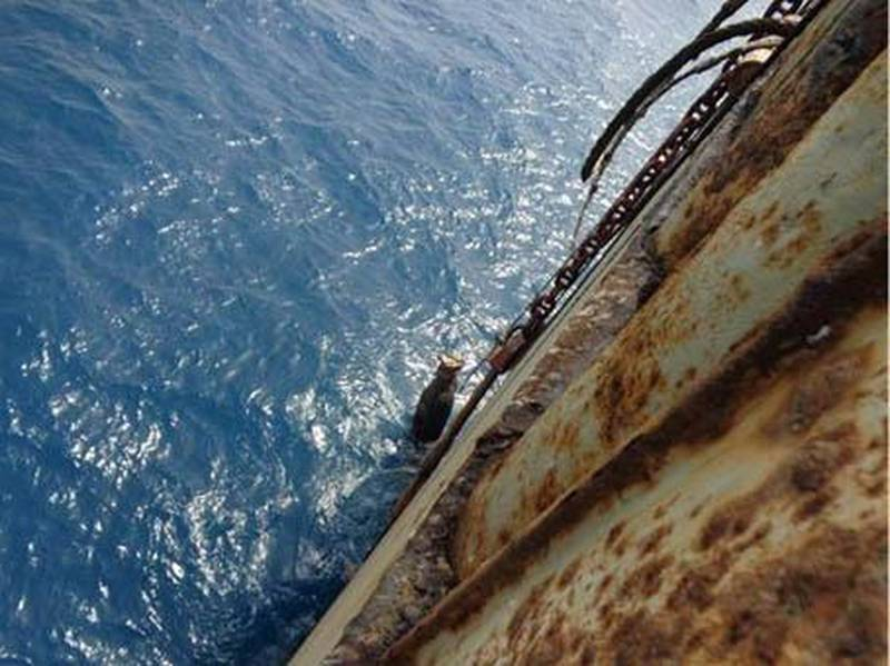 Deterioration on the single hull of the Safer.  April 2019 . All images supplied to I.R. Consilium and printed with permission from the original photographers and copyright owners.