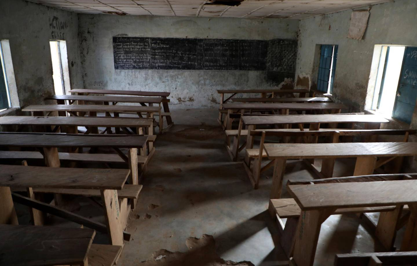 An empty class room following an attack by gunmen at Government Science College, Kagara, Nigeria, Thursday, Feb. 18, 2021. Gunmen have attacked a school in Nigeria's northcentral Niger State, killing at least one student and abducting more than 40 people including students and teachers, according to an official, teacher and a prefect. (AP Photo)