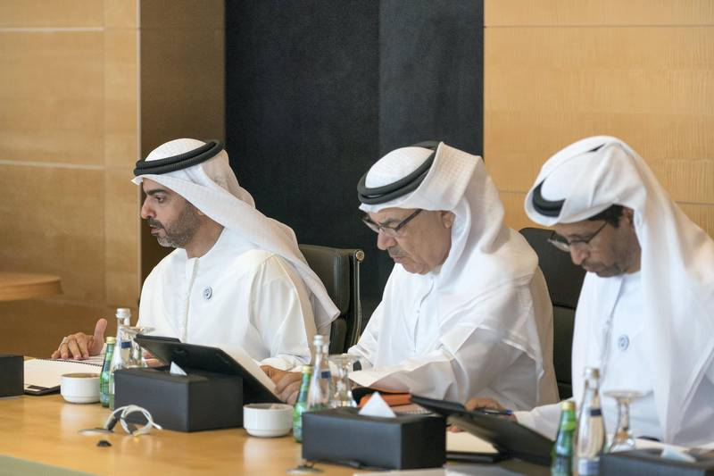 ABU DHABI, UNITED ARAB EMIRATES -  March 07, 2018: HH Sheikh Hamed bin Zayed Al Nahyan, Chairman of the Crown Prince Court of Abu Dhabi and Abu Dhabi Executive Council Member (L), HE Khalil Mohamed Sharif Foulathi (2nd L), and Musabeh Khamis Al Mazrouei (R), attend a board meeting at the Abu Dhabi Investment Authority (ADIA).  ( Ryan Carter for the Crown Prince Court - Abu Dhabi ) ---