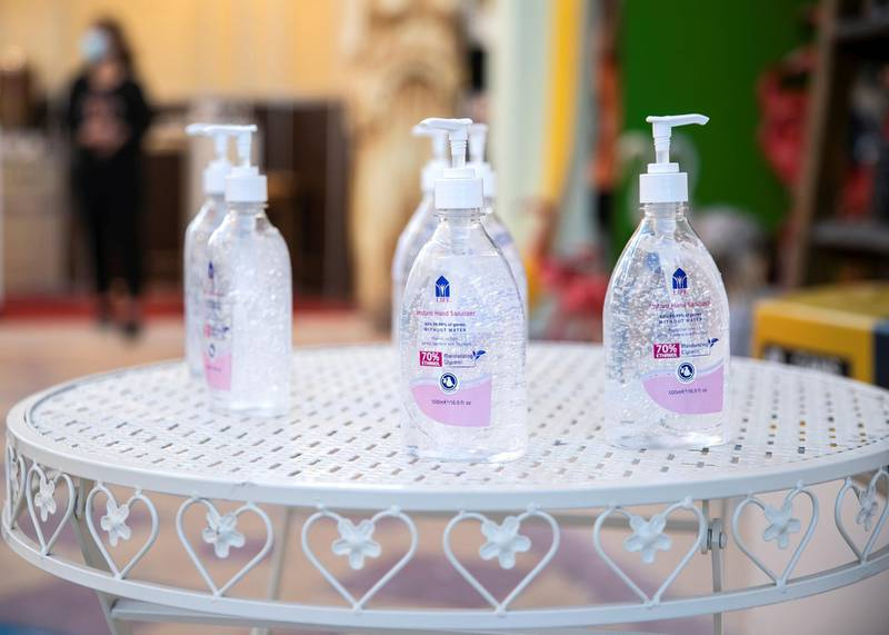 DUBAI, UNITED ARAB EMIRATES. 25 OCTOBER 2020. Sanitizers are present at some pavilions' entrance. Global Village celebrates it's 25th season this year.(Photo: Reem Mohammed/The National)Reporter:Section: