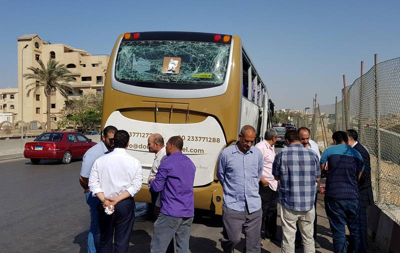 A damaged bus is seen at the site of a blast near a new museum being built close to the Giza pyramids in Cairo, Egypt May 19, 2019. REUTERS/Sayed Sheasha  NO RESALES. NO ARCHIVES