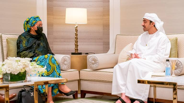 An image that illustrates this article Sheikh Abdullah bin Zayed meets UN Deputy Secretary-General at Expo 2020