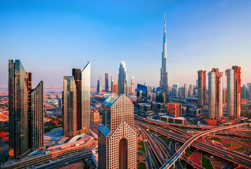 RYP3WE Amazing Dubai city center at sunrise, Dubai, United Arab Emirates. Alamy