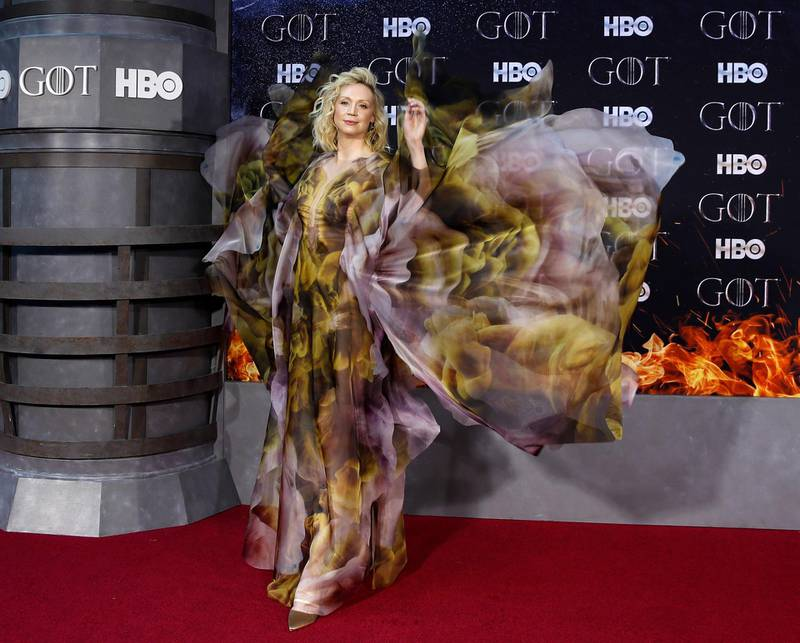 epaselect epa07483834 British actress Gwendoline Christie arrives for the New York red carpet premiere for the eighth and final season of Game of Thrones at Radio City Music Hall in New York, New York, USA, 03 April 2019.  EPA-EFE/JASON SZENES