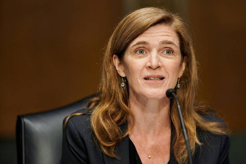 Former U.S. Ambassador to the United Nations Samantha Power, who is President Joe Biden's choice to lead the U.S. Agency for International Development, gives an opening statement at her U.S. Senate Foreign Relations Committee confirmation hearing in Washington, DC, U.S., March 23, 2021. Greg Nash/Pool via REUTERS