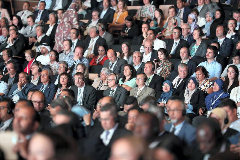 ABU DHABI,  UNITED ARAB EMIRATES , OCTOBER 6 – 2019 :- Delegates during the opening ceremony of the 26th World Road Congress held at Abu Dhabi National Exhibition Center in Abu Dhabi. ( Pawan Singh / The National ) For News. Story by Patrick