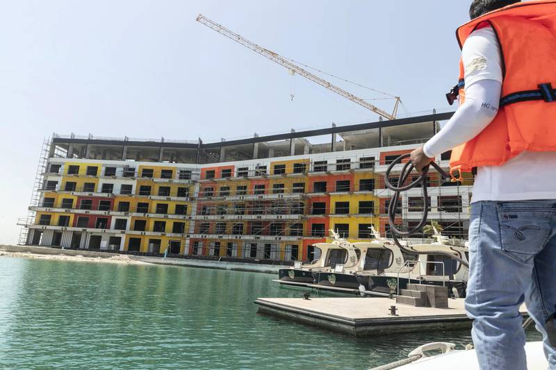 DUBAI, UNITED ARAB EMIRATES. 18 MAY 2020. The Heart of Europe project located on the World Islands of the coast of Dubai is progressing amidst the Covid-19 pandemic and is planning to sell units in the coming months to be delivered in October 2020. Exterior of the Portofino luxury hotel. (Photo: Antonie Robertson/The National) Journalist: Patrick Ryan. Section: National.