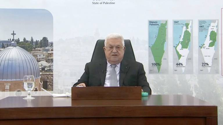 An image that illustrates this article Mahmoud Abbas sends ultimatum to Israel in UNGA address