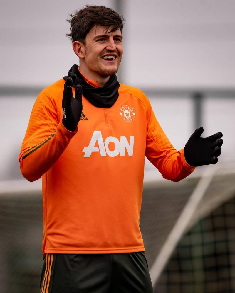 MANCHESTER, ENGLAND - MARCH 16: (EXCLUSIVE COVERAGE) Harry Maguire of Manchester United in action during a first team training session at Aon Training Complex on March 16, 2021 in Manchester, England. (Photo by Ash Donelon/Manchester United via Getty Images)