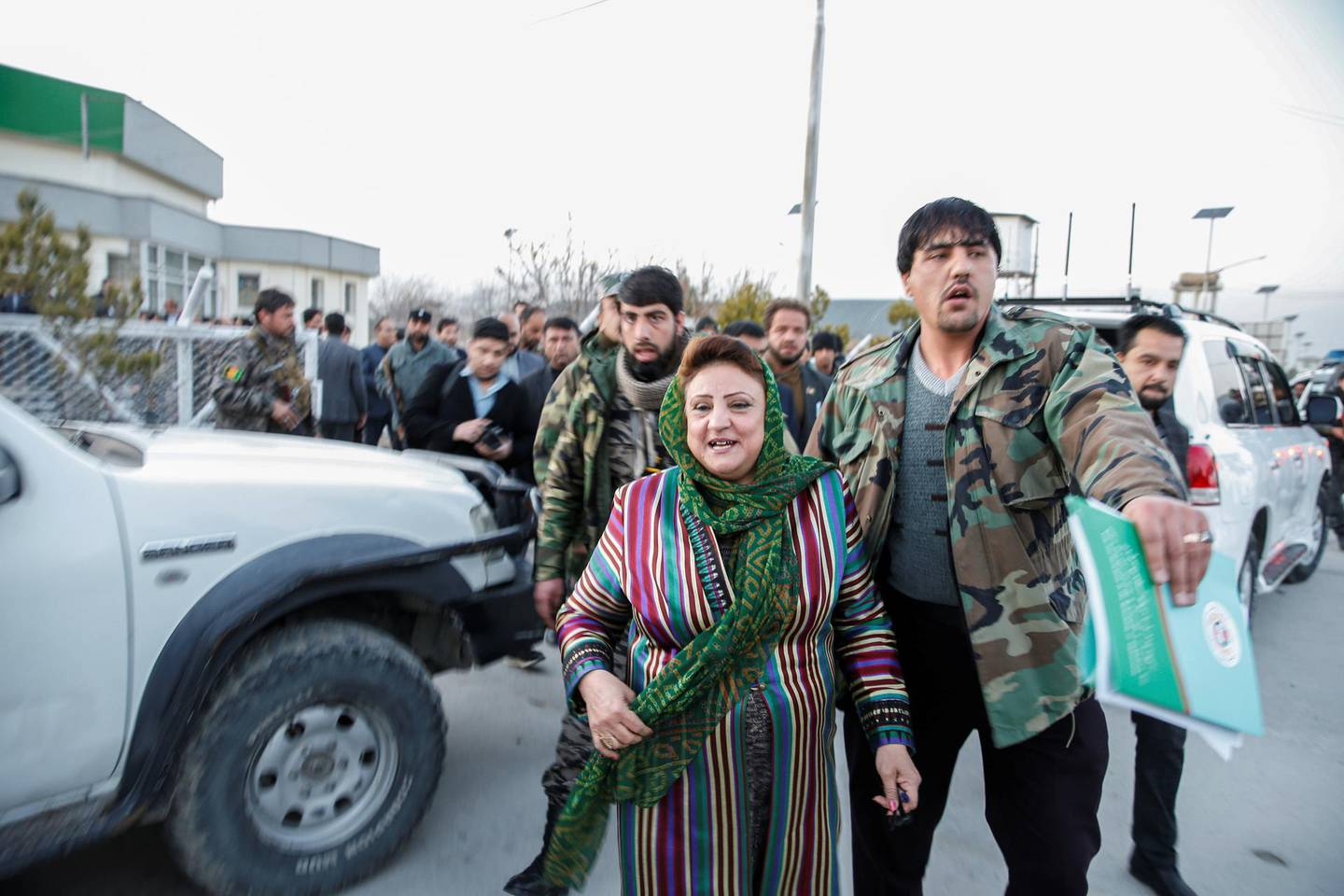 Hawa Alam Nuristani, head of the Independent Election Commission of Afghanistan (IEC) arrives for the final presidential election results announcement in Kabul, Afghanistan February 18, 2020 REUTERS/Mohammad Ismail