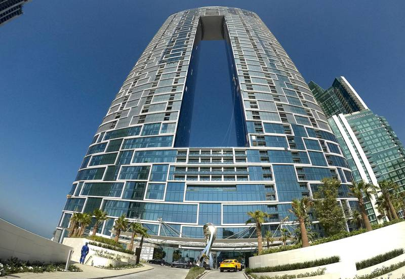 DUBAI, UNITED ARAB EMIRATES , December 24 – 2020 :-  View of the entrance at the Address Beach Resort near Jumeirah Beach Residences in Dubai. ( Pawan Singh / The National ) For Lifestyle. Story by Janice