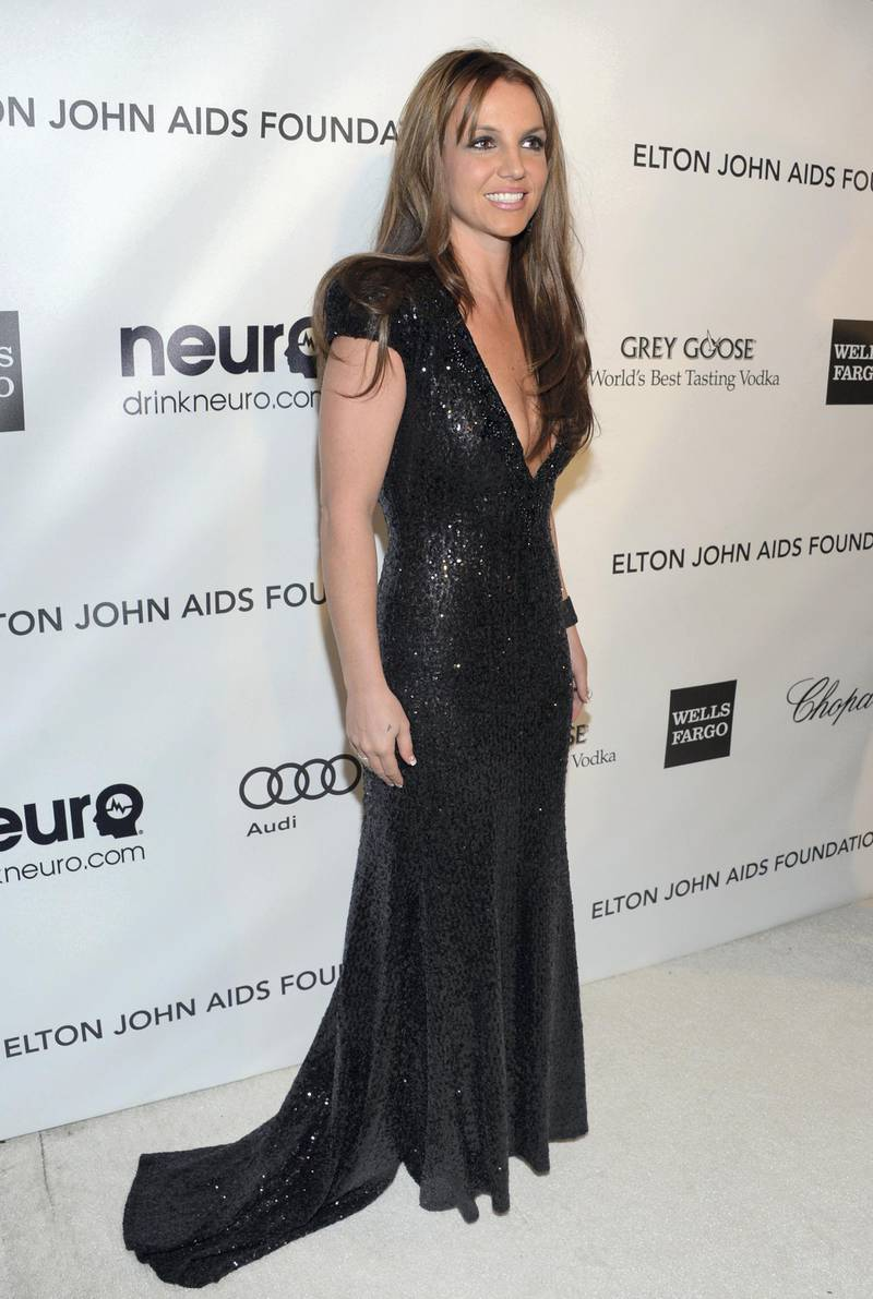 WEST HOLLYWOOD, CA - FEBRUARY 24: Singer Britney Spears attends the 21st Annual Elton John AIDS Foundation Academy Awards Viewing Party at Pacific Design Center on February 24, 2013 in West Hollywood, California.   Jason Kempin/Getty Images for EJAF/AFP
