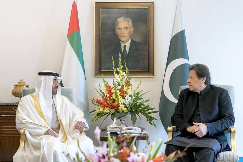 ISLAMABAD, PAKISTAN -January 02, 2020:  HH Sheikh Mohamed bin Zayed Al Nahyan, Crown Prince of Abu Dhabi and Deputy Supreme Commander of the UAE Armed Forces (L), meets with HE Imran Khan, Prime Minister of Pakistan (R), at Islamabad.  ( Rashed Al Mansoori / Ministry of Presidential Affairs ) ---