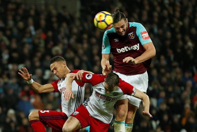 """Soccer Football - Premier League - West Ham United vs West Bromwich Albion - London Stadium, London, Britain - January 2, 2018   West Ham United's Andy Carroll scores their first goal   Action Images via Reuters/John Sibley    EDITORIAL USE ONLY. No use with unauthorized audio, video, data, fixture lists, club/league logos or """"live"""" services. Online in-match use limited to 75 images, no video emulation. No use in betting, games or single club/league/player publications.  Please contact your account representative for further details."""