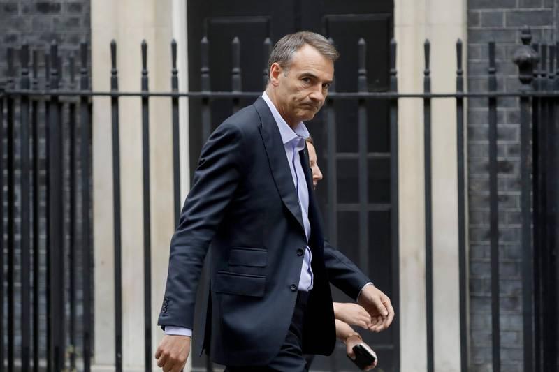 Bernard Looney the CEO of oil and gas company BP walks into 10 Downing Street in London, Friday, Sept. 11, 2020. (AP Photo/Matt Dunham)