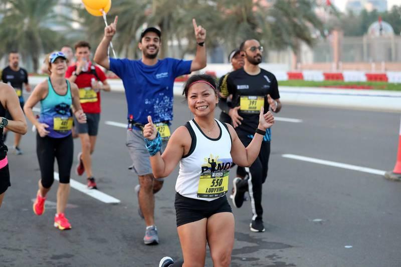 Abu Dhabi, United Arab Emirates - December 06, 2019: Athletes take part in the ADNOC Abu Dhabi marathon 2019. Friday, December 6th, 2019. Abu Dhabi. Chris Whiteoak / The National