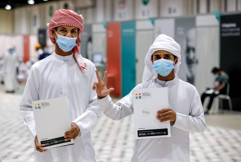 Abu Dhabi, United Arab Emirates, August 6, 2020.  Vaccine volunteers at the ADNEC volunteer facility. --Mohammad al Rajbi- 19Nasser Bina Haili- 19.  Victor Besa /The NationalSection: NAReporter:  Shireena Al Nowais