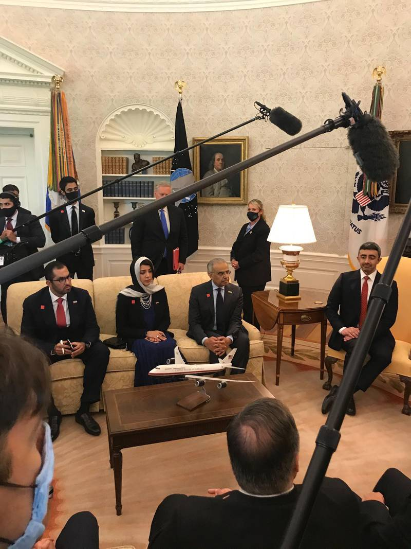 UAE headed by Sheikh Abdullah bin Zayed with by President Donald J. Trump at the White House. Mustafa Alrawi / The National
