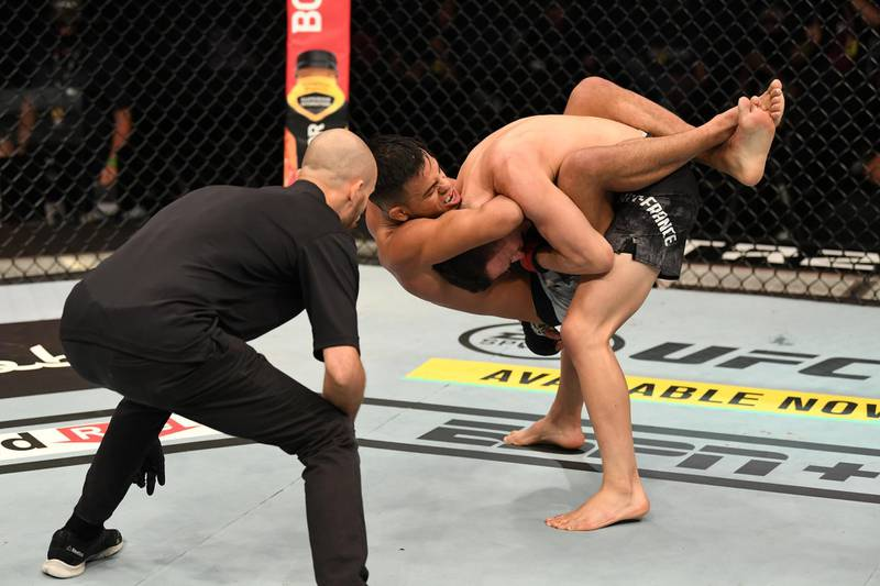 ABU DHABI, UNITED ARAB EMIRATES - SEPTEMBER 27:  (L-R) Brandon Royval attempts to submit Kai Kara France of New Zealand in their flyweight bout during UFC 253 inside Flash Forum on UFC Fight Island on September 27, 2020 in Abu Dhabi, United Arab Emirates. (Photo by Josh Hedges/Zuffa LLC)