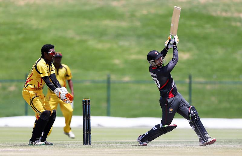 ABU DHABI , UNITED ARAB EMIRATES – April 12 , 2017 : Shaiman Anwar of UAE cricket team playing a shot during the T20 cricket match between Papua New Guinea vs UAE held at  Sheikh Zayed Cricket Stadium in Abu Dhabi. UAE won the match by 5 wickets. Shaiman Anwar scored 39 runs in this match.( Pawan Singh / The National ) For Sports. Story by Paul Radley. ID : 28402 *** Local Caption ***  PS1204- CRICKET01.jpg