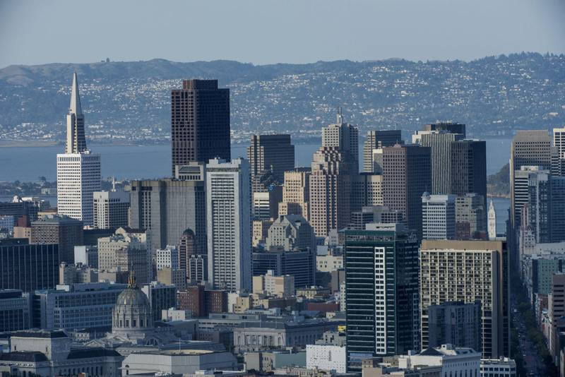 Buildings stand in the skyline of downtown San Francisco, California, U.S., on Thursday, May 7, 2015. San Francisco Mayor Ed Lee will seek voter approval for the first housing bond since 1996 as his city becomes the least affordable U.S. housing market and uproar grows about gentrification fueled by the technology boom. Photographer: David Paul Morris/Bloomberg