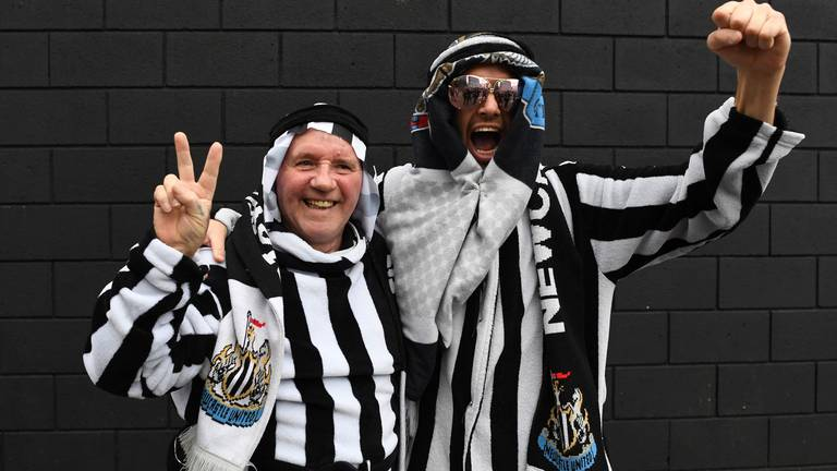 An image that illustrates this article Newcastle fans welcome new Saudi owners at St James' Park party