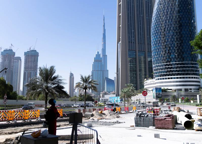 DUBAI, UNITED ARAB EMIRATES. 18 OCTOBER 2020. Construction outside ICD Brookfield Place building on Al Mustaqbal Street.(Photo: Reem Mohammed/The National)Reporter:Section:
