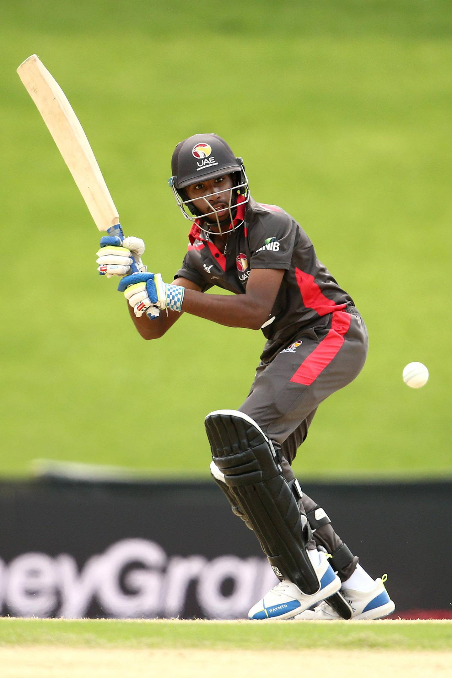 BLOEMFONTEIN, SOUTH AFRICA - JANUARY 18: Vriitya Aravind of UAE bats during the ICC U19 Cricket World Cup Group D match between UAE and Canada at Mangaung Oval on January 18, 2020 in Bloemfontein, South Africa. (Photo by Jan Kruger-ICC/ICC via Getty Images)