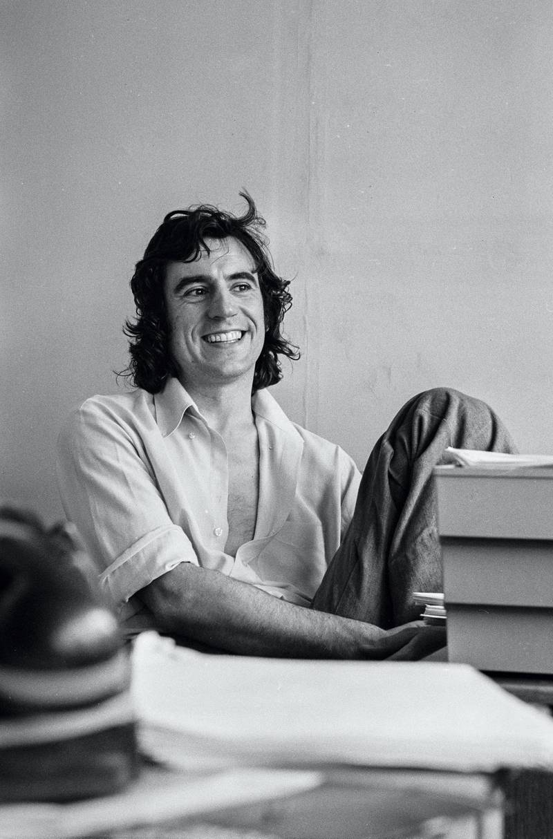 Actor and writer Terry Jones in a script conference for BBC television show 'Monty Python's Flying Circus', 1974. (Photo by Chris Ridley/Radio Times via Getty Images)