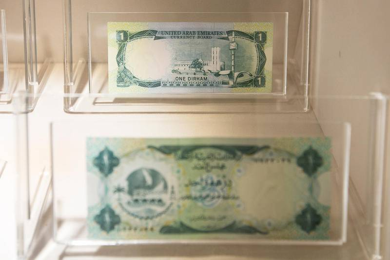 Abu Dhabi, United Arab Emirates. July 16, 2014///  1 Dirham note. Emirates Dirham -currency board issue- circulated during the period 1973-1982The UAE Currency Museum in the Central Bank. Abu Dhabi, United Arab Emirates.  Mona Al-Marzooqi/ The National   Reporter: Ramola Talwar  Section: Weekend