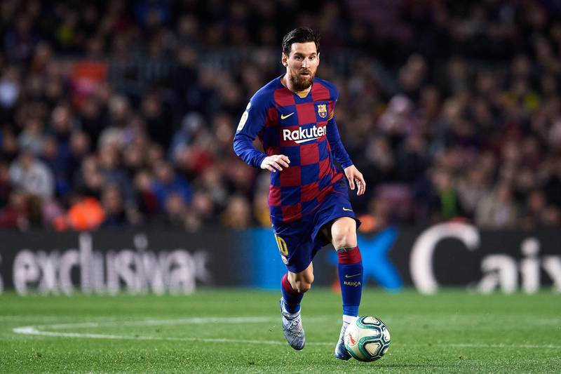 BARCELONA, SPAIN - MARCH 07: Lionel Messi of FC Barcelona runs with the ball during the Liga match between FC Barcelona and Real Sociedad at Camp Nou on March 07, 2020 in Barcelona, Spain. (Photo by Alex Caparros/Getty Images)