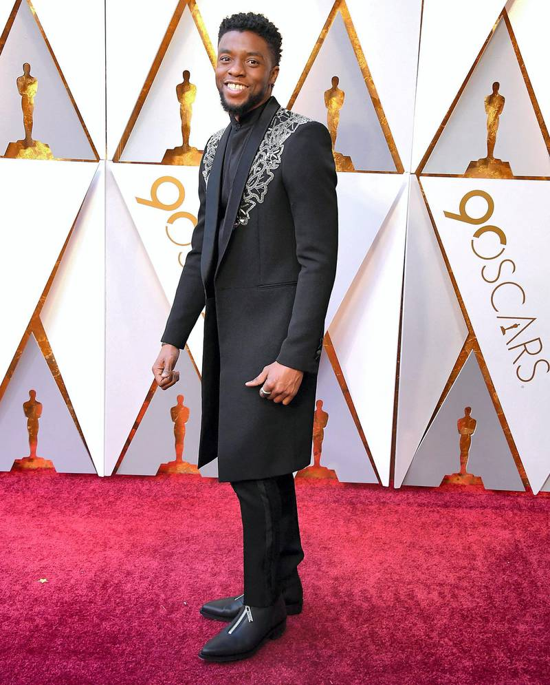 HOLLYWOOD, CA - MARCH 04:  Chadwick Boseman arrives at the 90th Annual Academy Awards at Hollywood & Highland Center on March 4, 2018 in Hollywood, California.  (Photo by Steve Granitz/WireImage)