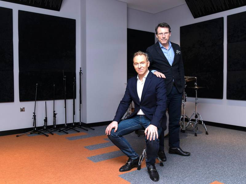 """DUBAI, UNITED ARAB EMIRATES. 26 JANUARY 2020. Wim Hoste, left, and Alex Broun are the brains behind a new """"live cinema"""" project called Don't You Forget About Me, which performs at VOX cinema in February. (Photo: Reem Mohammed/The National)Reporter:Section:"""